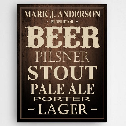 Personalized Home Brewed Beer Canvas Sign CA760
