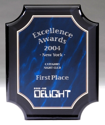 Blue Marble Acrylic Plaque With Notched Corners CP780-B