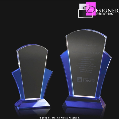 Blush Crystal Award With Blue Accents CRINEV