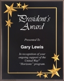 Black Acrylic Plaque With Gold Stars CRV8BK