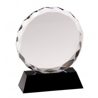 Round Crystal Award With Black Base CRY001