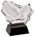 Carved Crystal Eagle On Black Crystal Pedestal CRY045