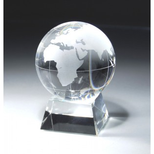 Crystal Globe Award On Crystal Base CRY115