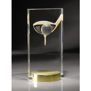 3-d Gold and Crystal Golf Trophy CRY142