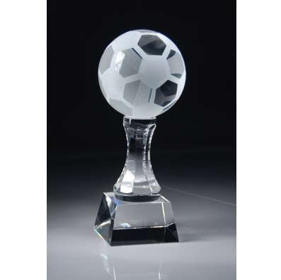 Engraved 10 Optical Crystal Soccer Ball Award CRY152