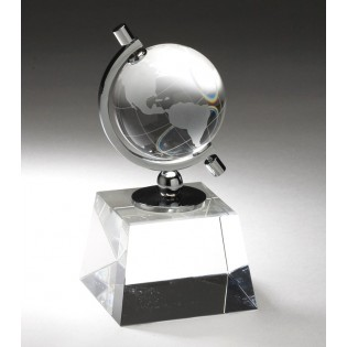 Crystal Globe Award On Clear Crystal Base CRY160