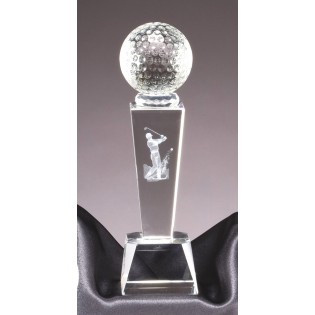 Crystal Golf Trophy With 3-d Golfer CRY213