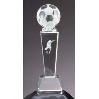 Laser Engraved Optical Crystal Soccer Award CRY214