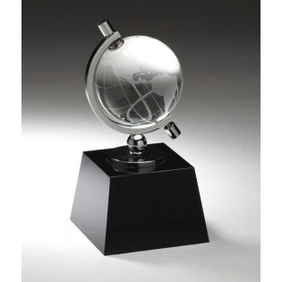 Crystal Globe Award On Black Base CRY315