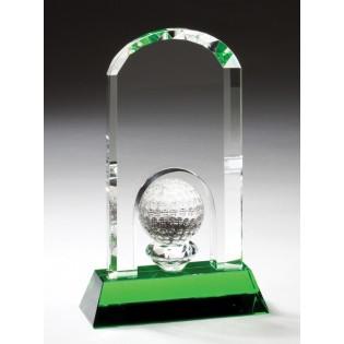 Crystal Golf Ball Award With Green Base