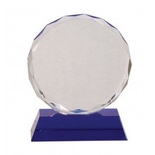 Round Crystal Award With Blue Base CRY501