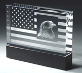 Patriotic Crystal Award With Flag and Eagle CRY54