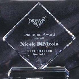 Optical Crystal Diamond Shaped Award CRY87