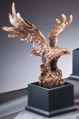 Bronze Eagle Statue On Black Base