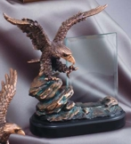 Bronze Eagle Sculpture With Glass Engraving Plate FRB806
