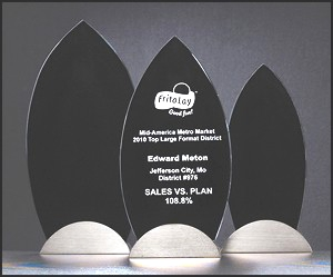 Black Glass Awards With Gunmetal Base G2538