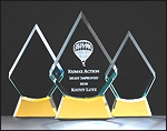 Engraved Glass Award With Gold Mirror Base G2619