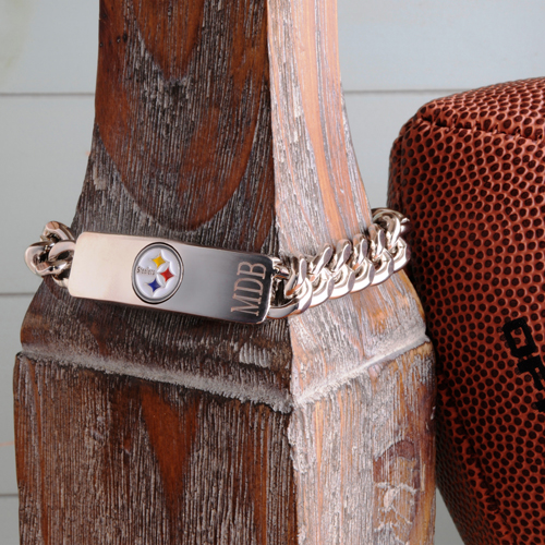 NFL Fanatic Engraved Stainless Steel Bracelet