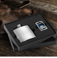 Engraved 4oz Brushed Flask and NFL Zippo Lighter Gift Set GC1002