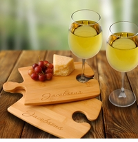 Engraved Bamboo Puzzle Cutting Boards Set Of 2 With Wine Glasses GC1014