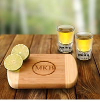 Lime Time Engraved Bamboo Cutting Board With 2 Shot Glasses GC1016
