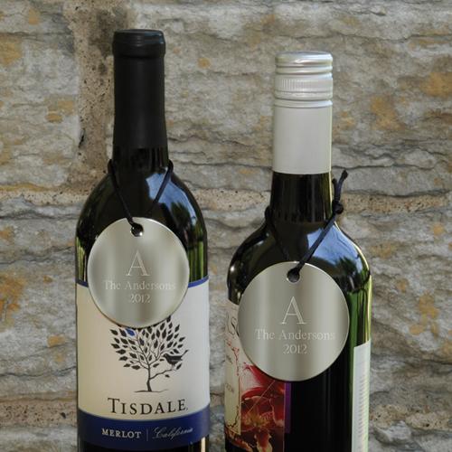 Engraved Monogram Wine Bottle Medallions Set Of 2