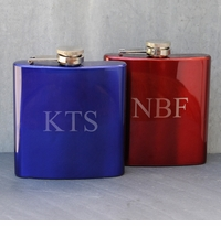 Engraved Metallic Finish Stainless Steel 6oz Flask