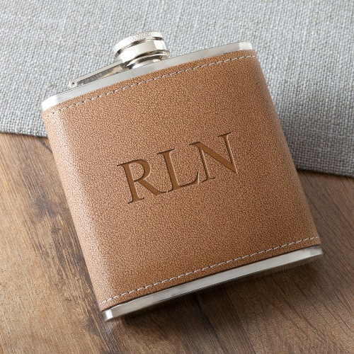 Laser Etched Tan Hide Stitch Flask GC1027