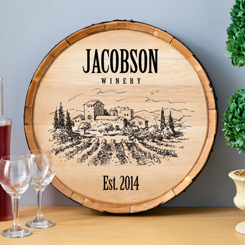 Personalized Signs For Home Decorating: Personalized Wine Barrel Home Decor Sign