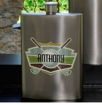 Personalized Guys Party 8oz Gunmetal Flask GC1037