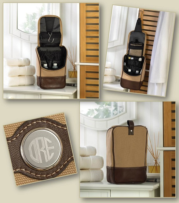 Engraved Medallion Canvas and Leather Travel Bag Kit GC1040