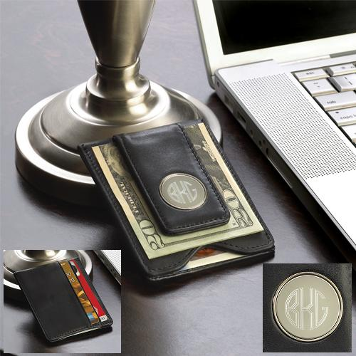 Black Leather Wallet With Engraved Circle Monogram Clip GC1041