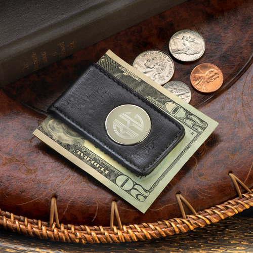 Engraved Circle Monogram Black Leather Magnetic Money Clip GC1042