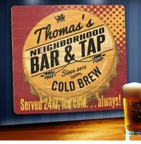 Personalized Always Open Wood Home Bar and Tavern Sign