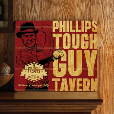 Personalized Tough Guy Wood Home Bar and Tavern Sign GC1067tough-guy-tavern