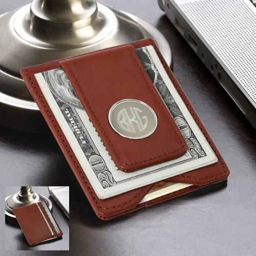 Brown Leather Wallet With Engraved Circle Monogram Clip GC1074