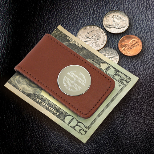 Engraved Circle Monogram Brown Leather Magnetic Money Clip