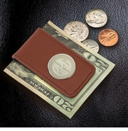 Engraved Circle Monogram Brown Leather Magnetic Money Clip GC1075
