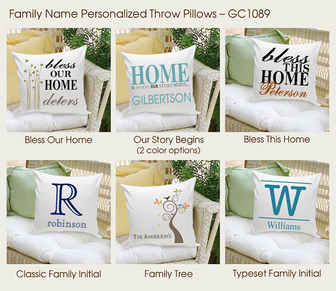 Personalized Family Name Throw Pillows