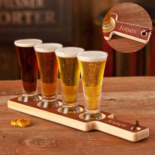 Engraved Plank Beer Sampler Set Handmade In America GC1091