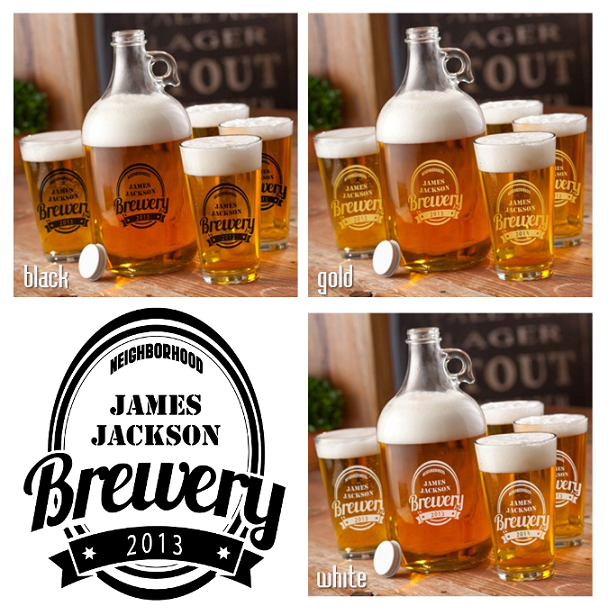 Personalized 64oz Brewery Growler and Pint Glasses Set GC1096