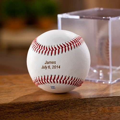 Rawlings Personalized Leather Baseball and Acrylic Case GC1100