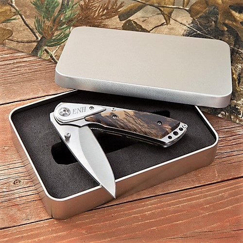 Engraved Camo Lock Back Knife With Tin Box GC1111