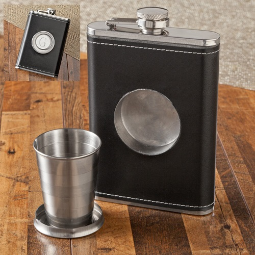 Monogram 8oz Leather Flask With Folding Shot Glass GC1136