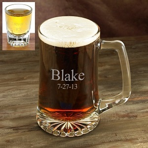 Set Of 4 Engraved 25oz Beer Glass Mugs GC117SET