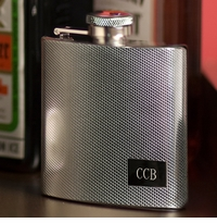 Engraved Stainless Steel Roaring 20s Textured Flask GC118