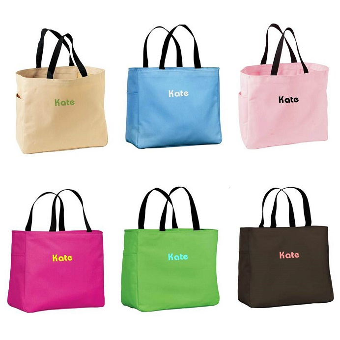 custom embroidered addie tote bag personalize at blackacedesign com