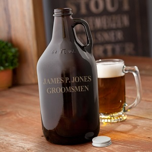 Personalized Amber 64oz Beer Growler GC1204