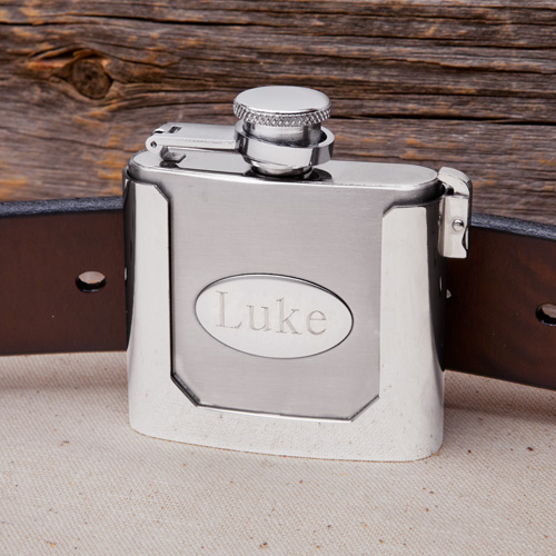Engraved Stainless Steel 2oz Belt Buckle Flask