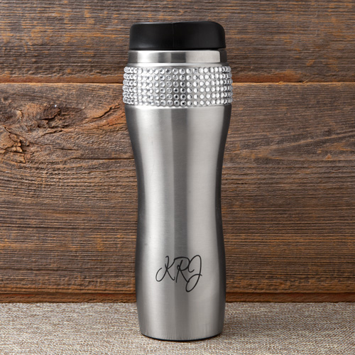 Custom Blinged Out Silver 14oz Rhinestone Tumbler GC1222